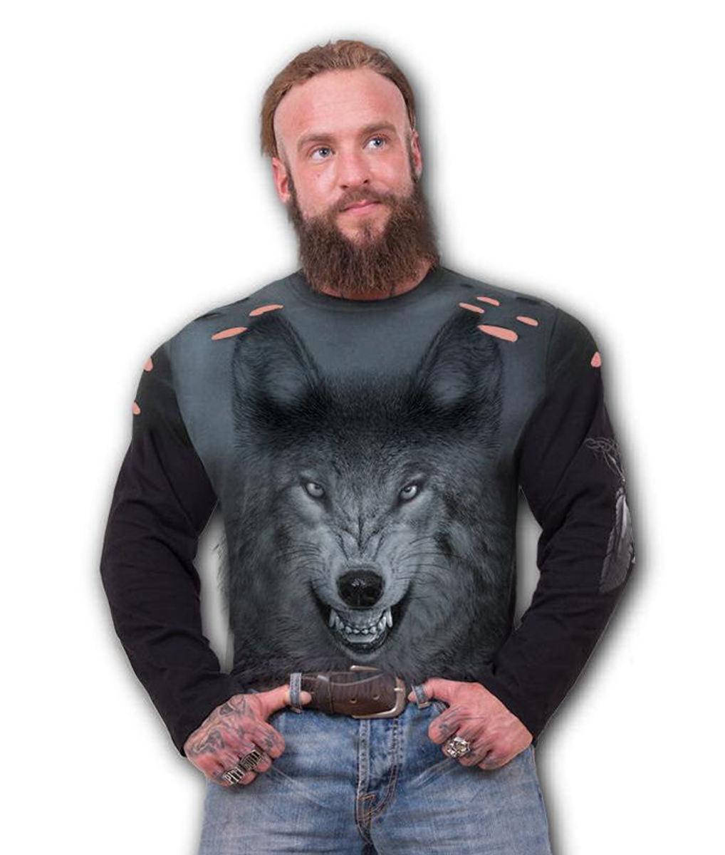tričko pánske s dlhým rukávom SPIRAL - SHADOW WOLF - D084M324