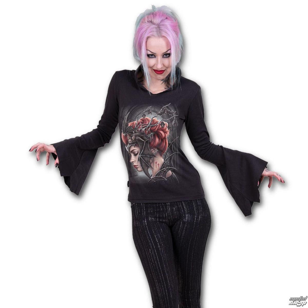 tričko dámske s dlhým rukávom SPIRAL - QUEEN OF THE NIGHT - Black - T154F422