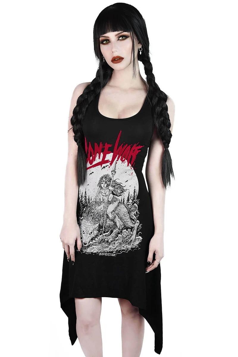 šaty dámske (tunika) KILLSTAR - Lonewolf Lace-Up - BLACK - KSRA001851