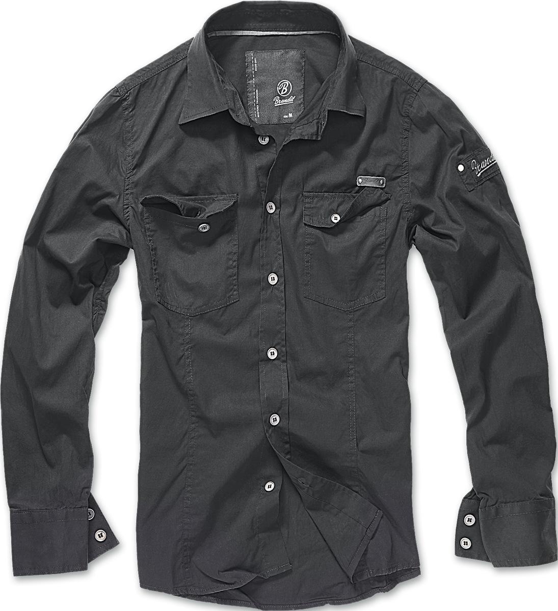 5290d83f4321 košele pánska Brandit - Men Shirt Slim - Black - 4005 2