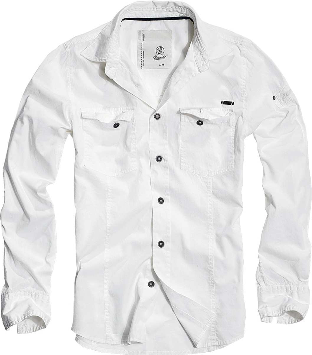 košele pánska BRANDIT - Men Shirt Slim Weiss - 4005/7
