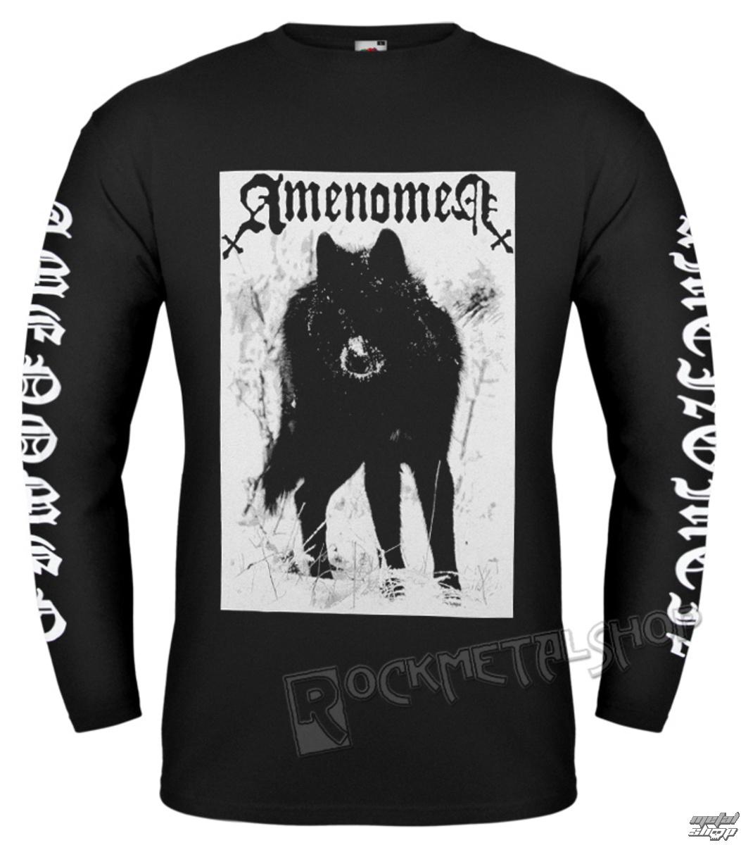 tričko pánske s dlhým rukávom AMENOMEN - SNOW WOLF - OMEN037LO BLACK