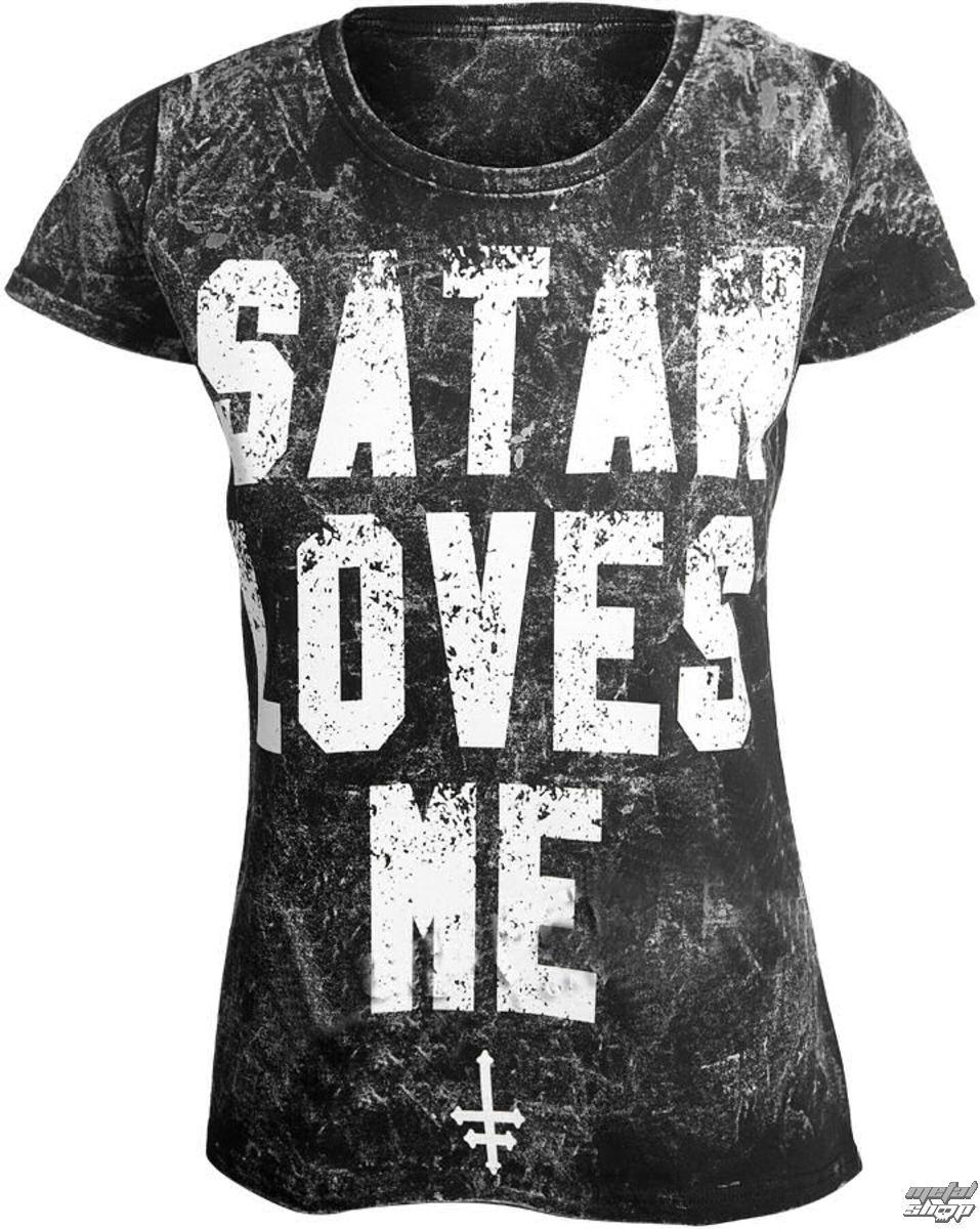 tričko dámske AMENOMEN - SATAN LOVES ME - OMEN057DA AL LPRINT WHITE