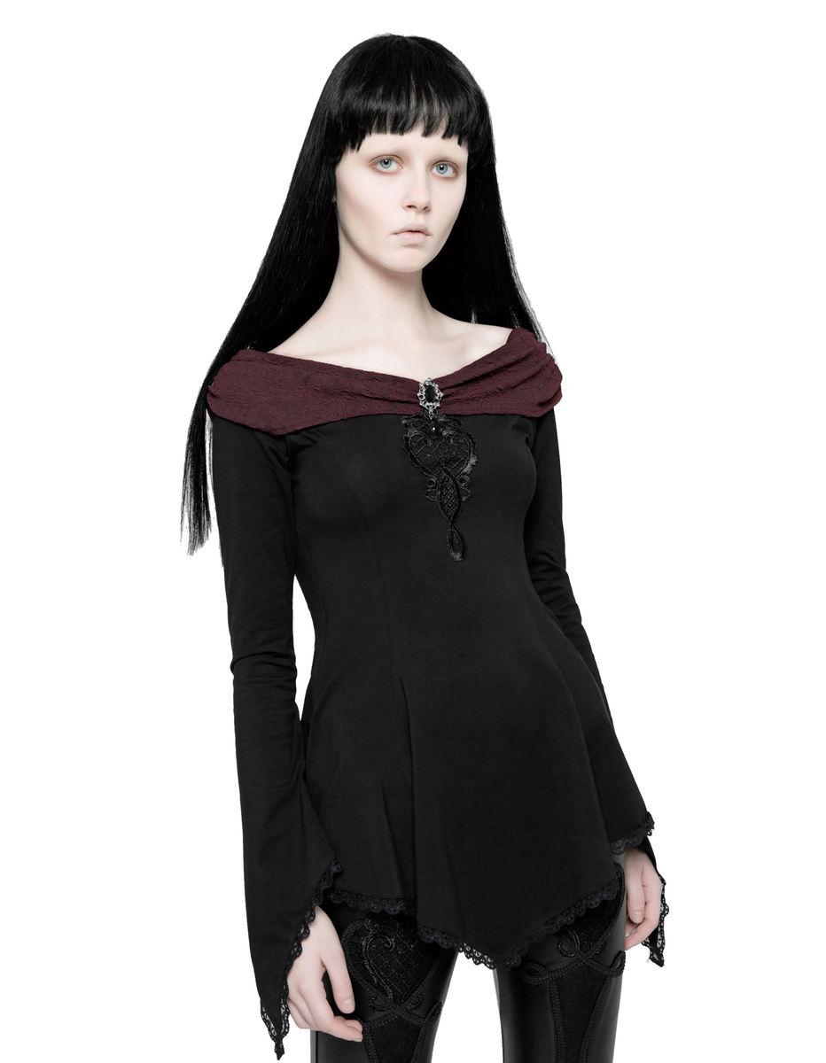 tričko dámske s dlhým rukávom PUNK RAVE - Vespertine Gothic - WT-520 BK-RD