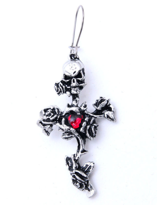náušnice Rose Thorn Cross - ALCHEMY GOTHIC - E130
