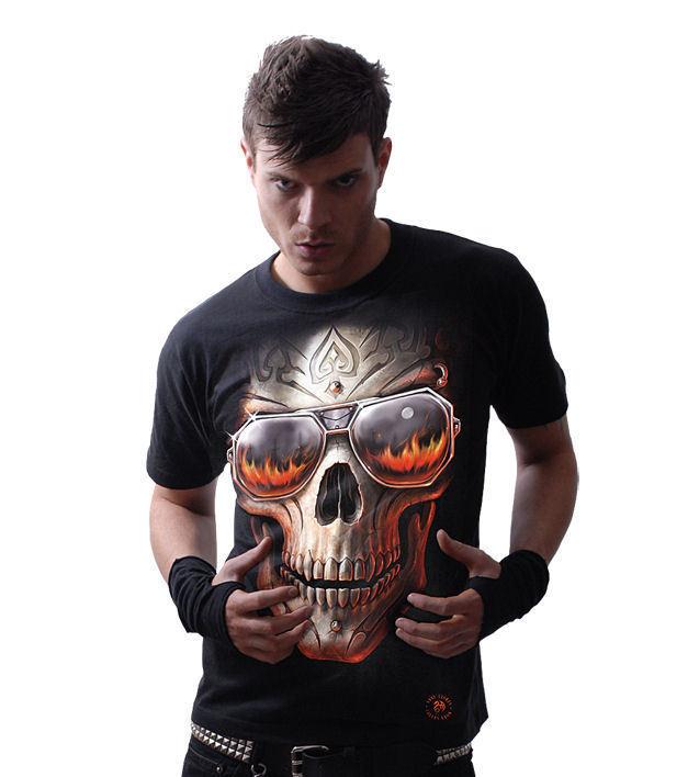 tričko pánske SPIRAL - Hellfire Skull - Blk - AS132600