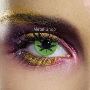 set kontaktné šošovka GREEN CANNABIS LEAF a dezinfekčné sada - EDIT - 80009
