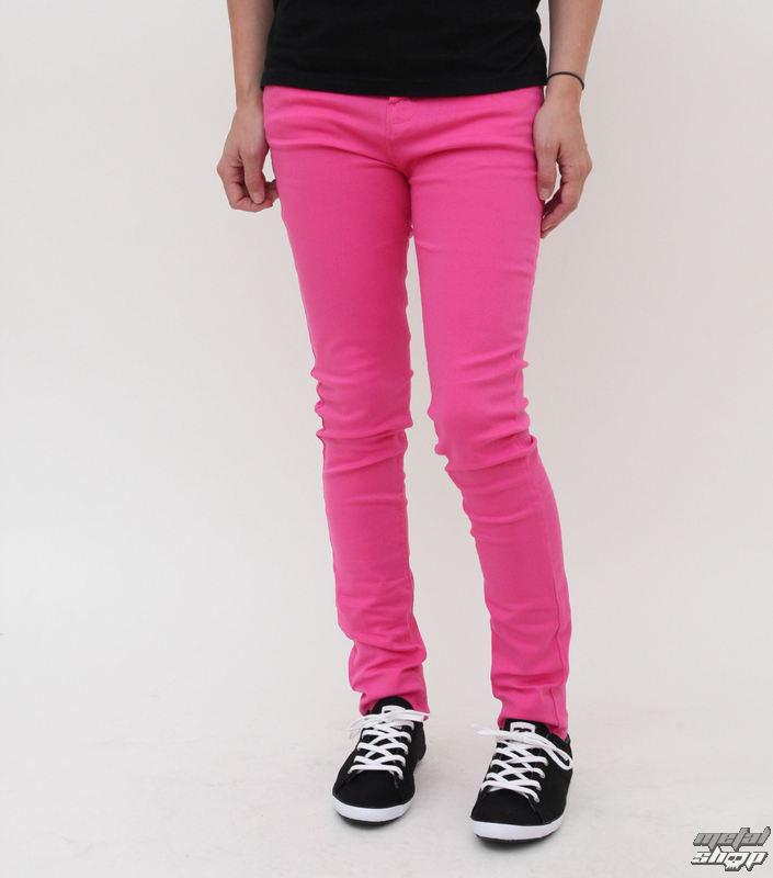 nohavice dámske HELL BUNNY - Super Skinny - Pink - 2570