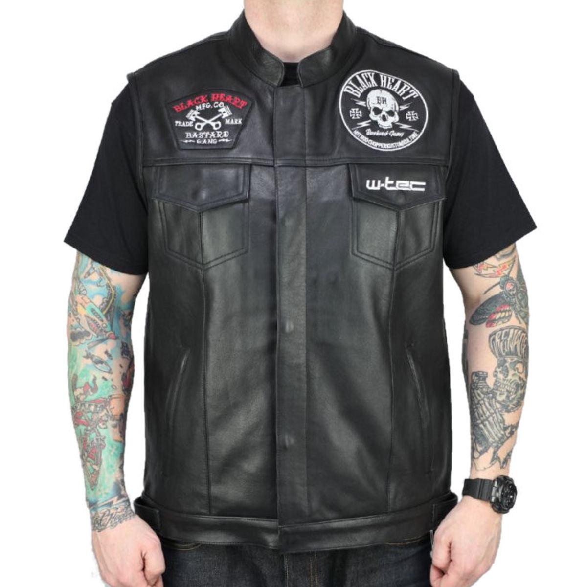 vesta pánska BLACK HEART - W-TEC SKULL - BLACK - 029-0010-BLK