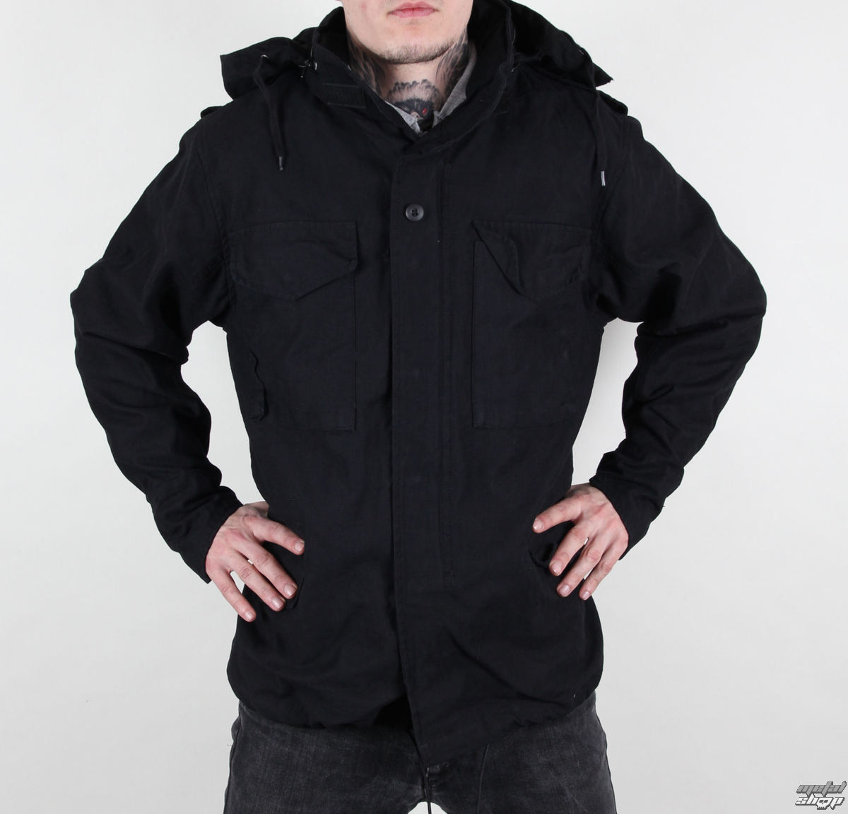 bunda pánska jarno-jesenná M65 Fieldjacket NYCO washed - BLACK - 100304