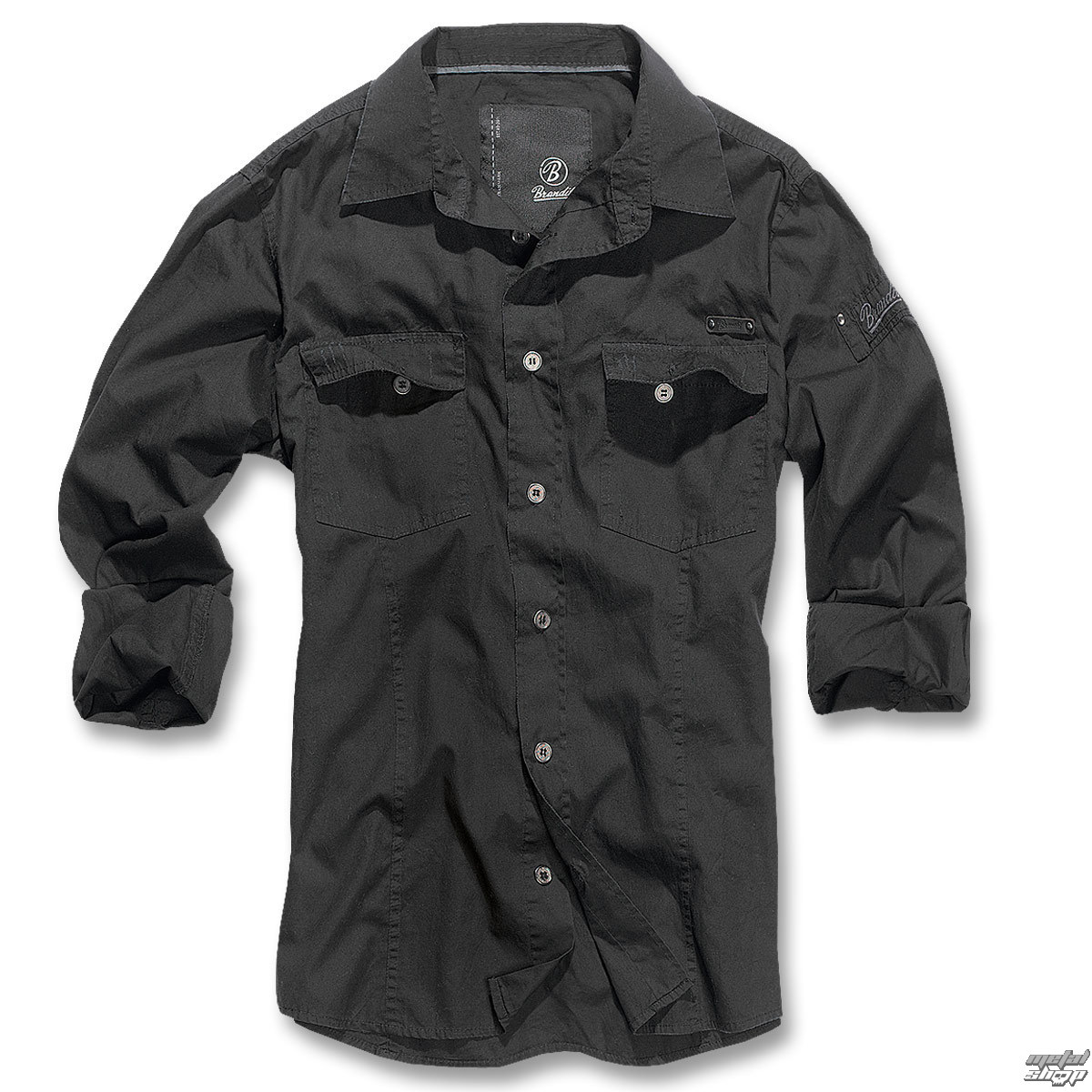košele pánska Brandit - Men Shirt Slim - Black - 4005/2