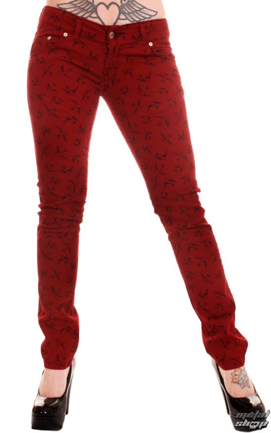 nohavice dámske 3RDAND56th - Swallow Skinny Jeans - Wine - JM1118