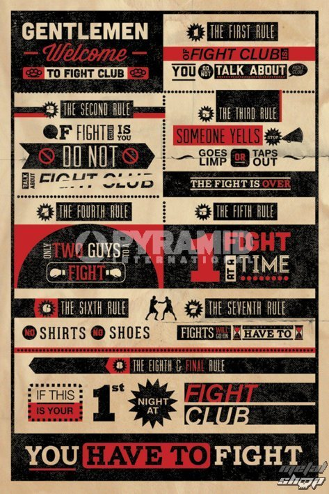plagát Fight Club Rules Infographic - PYRAMID POSTERS - PP32912