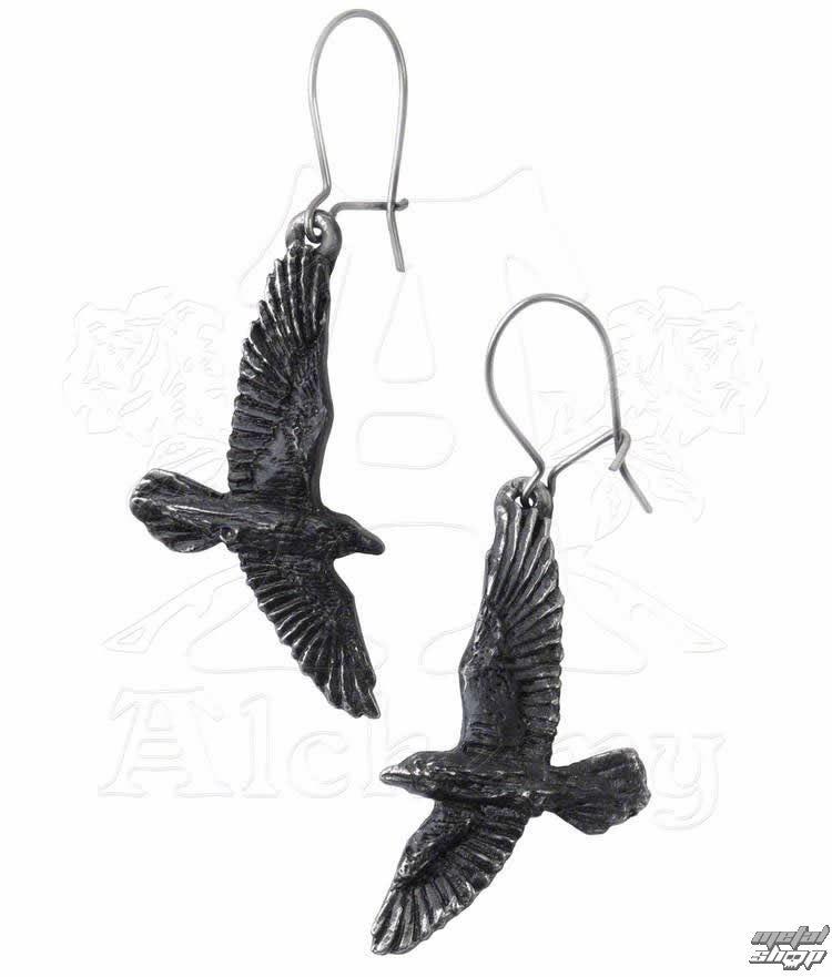 náušnice Black Raven - ALCHEMY GOTHIC - E333