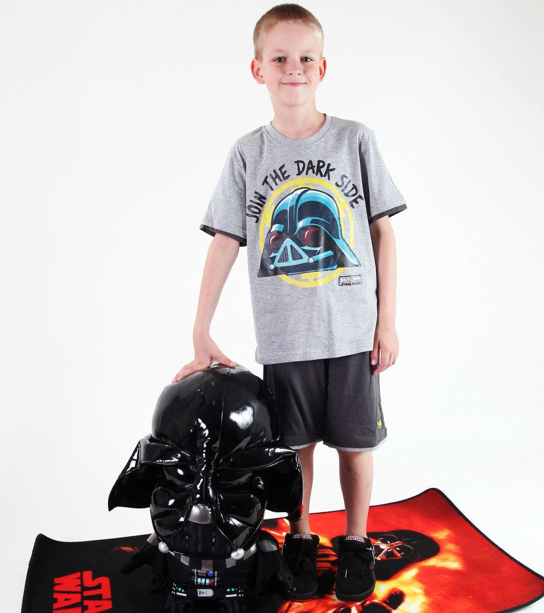 set chlapčenský ( tričko,kraťasy) TV MANIA - Angry Birds / Star Wars - Grey - SWAB 338