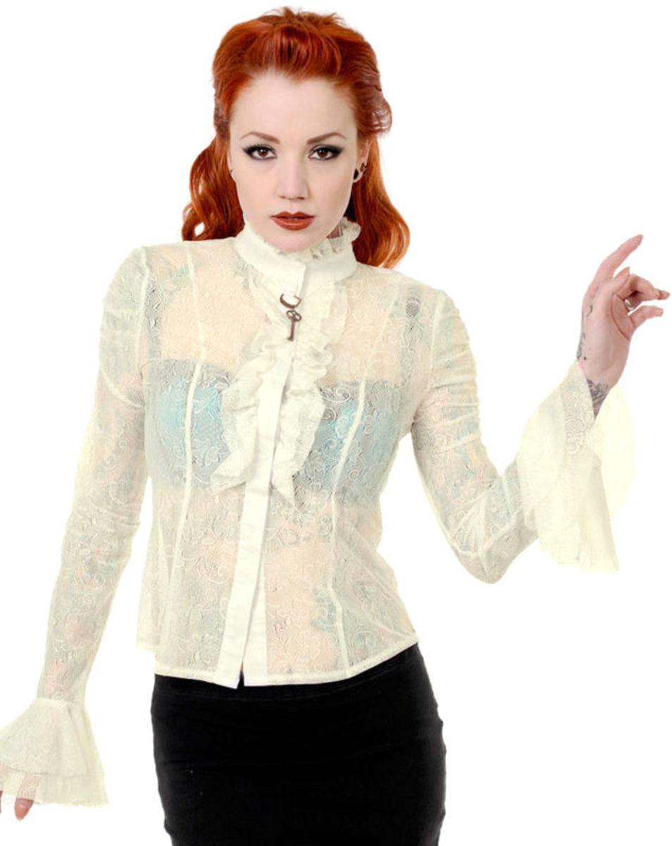 košele dámska s dlhým rukávom BANNED - Key - White - OBN109OFF