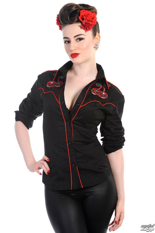 košele dámska s dlhým rukávom BANNED - Cherry Skulls - Black - WBN1504BL