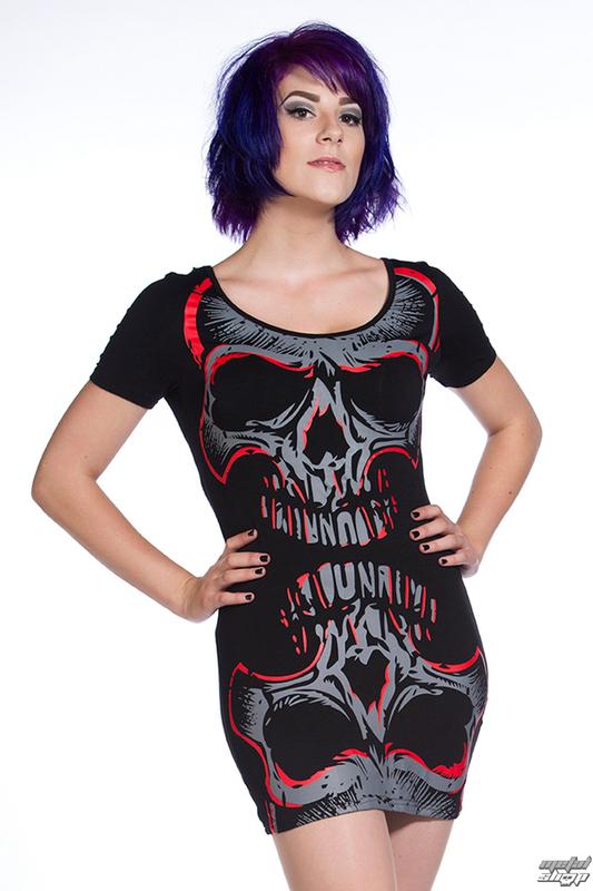 šaty dámske (tunika) BANNED - Red Mirror Skull - OBN134