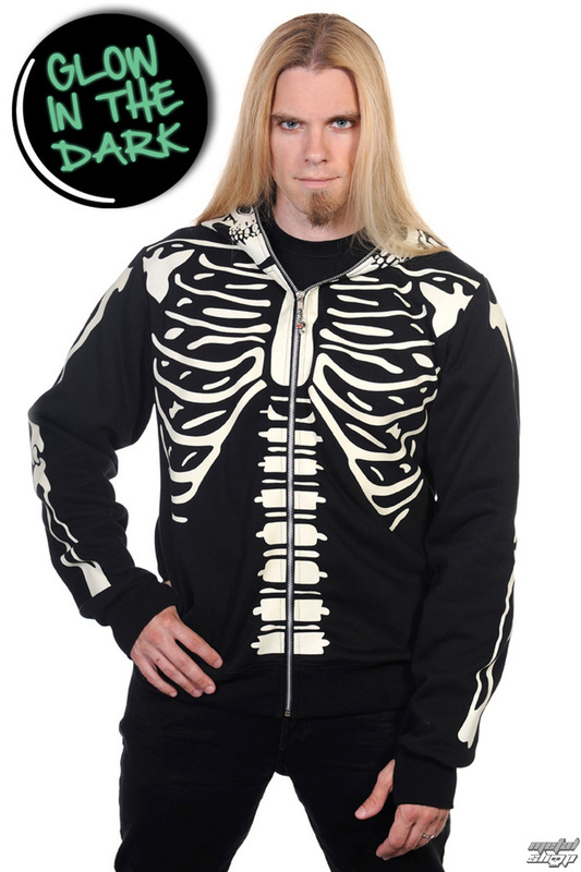 mikina pánska BANNED - Black Glow In The Dark Skeleton - HBN020M