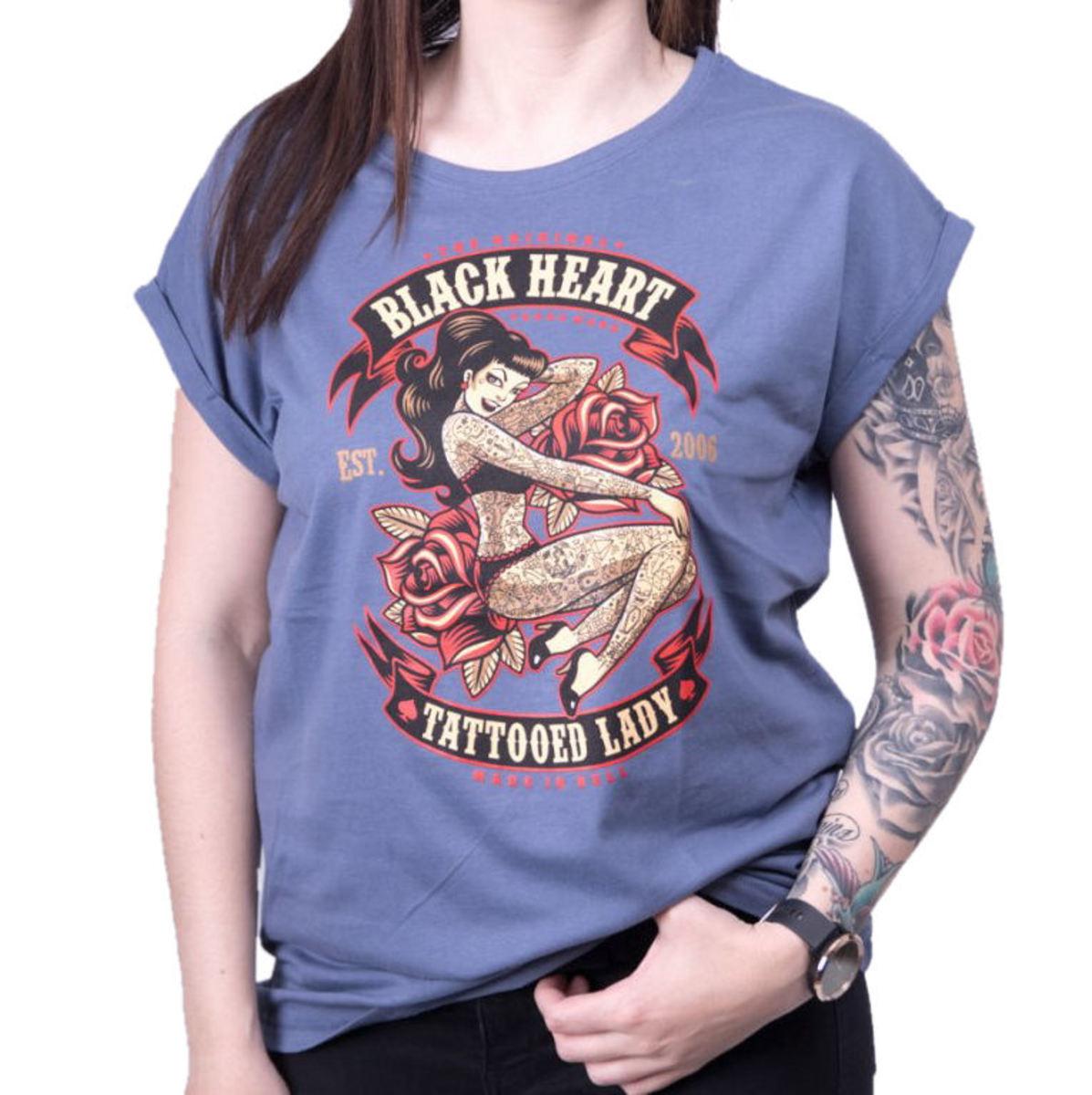 tričko dámske BLACK HEART - TATTOED LADY EXT - BLUE - 010-0185-BLU