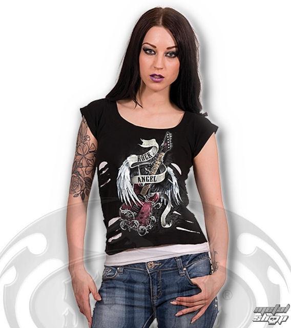 tričko dámske SPIRAL - ROCK ANGEL - WHT/BLK - TR366157