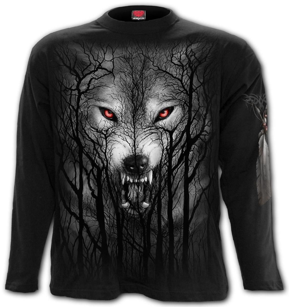 tričko pánske s dlhým rukávom SPIRAL - FOREST WOLF - Black - E030M301