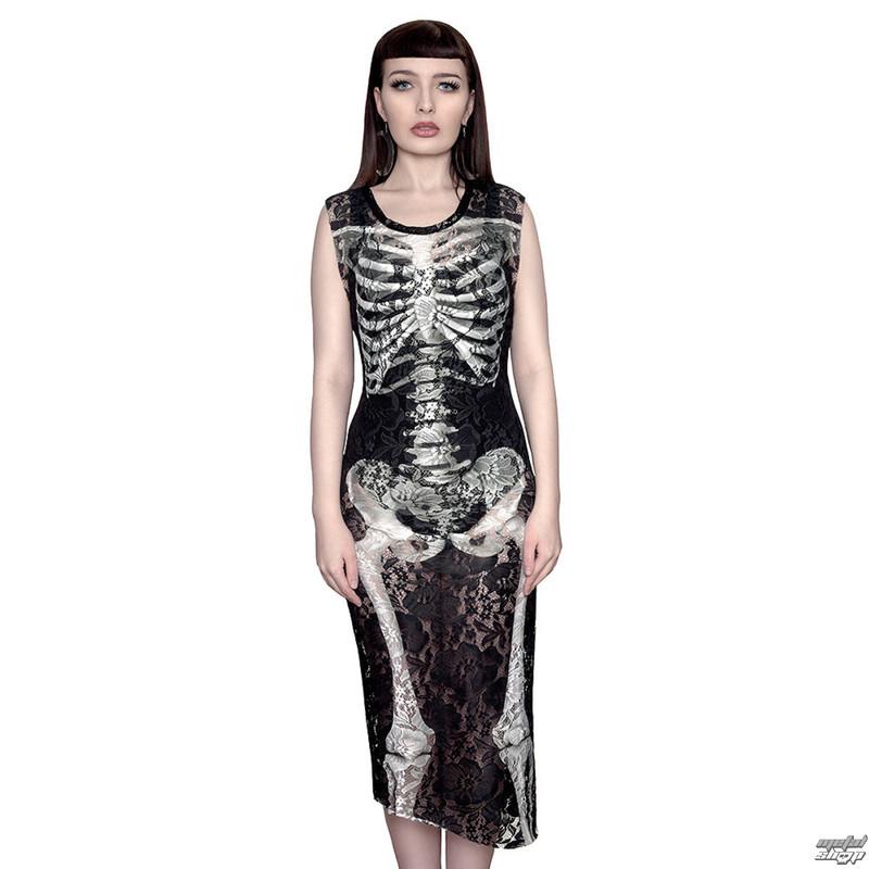 šaty dámske KILLSTAR - Skeletor Lace Maxi - Black