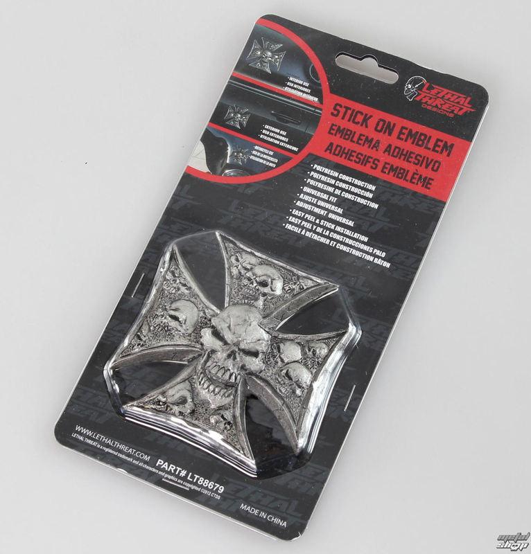 dekorácia (na auto) LETHAL THREAT - Iron Cross Skulls Emblem - LT88679
