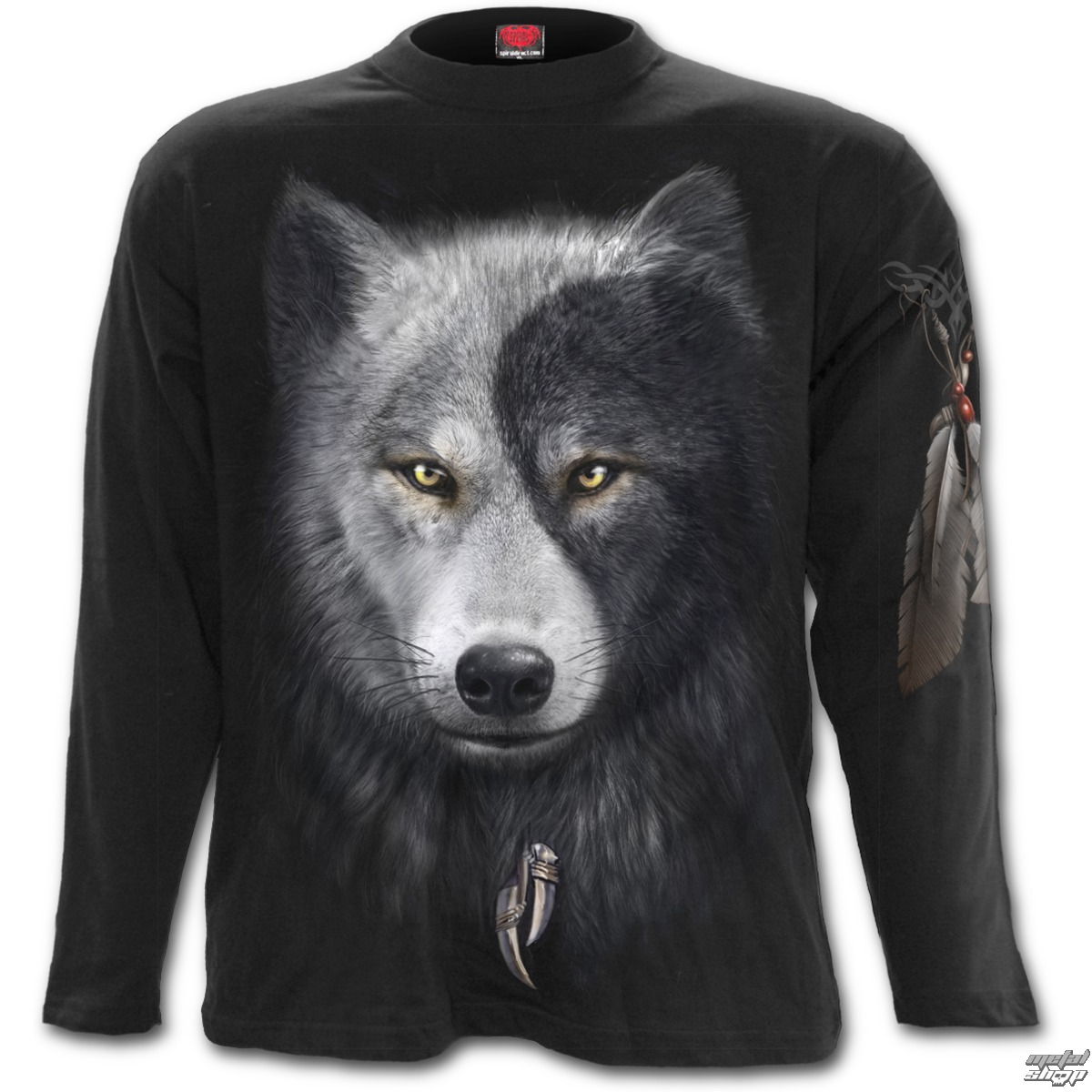 tričko pánske s dlhým rukávom SPIRAL - Wolf Chi - Black - T118M301