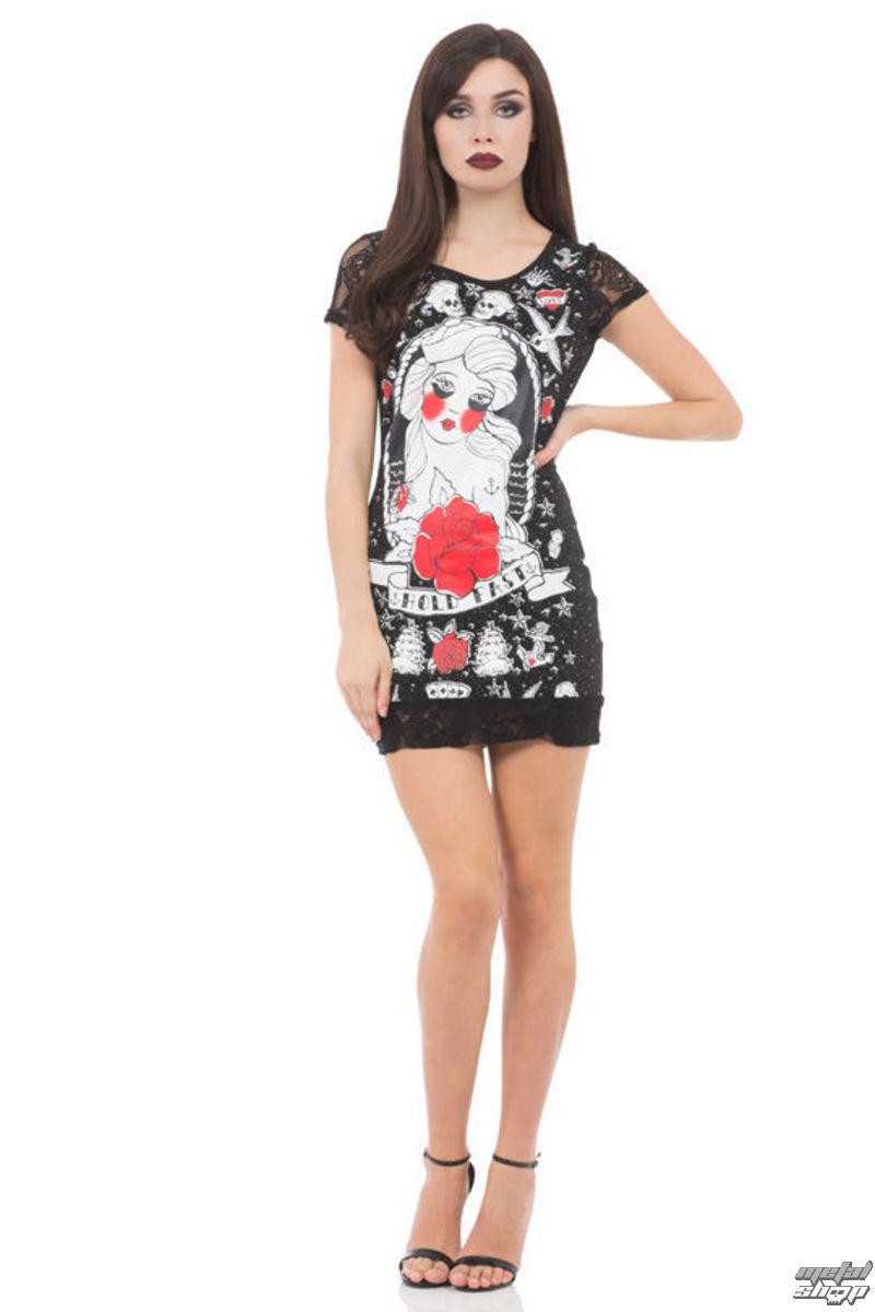 šaty dámske JAWBREAKER - Black / Red Rose - DRA8201