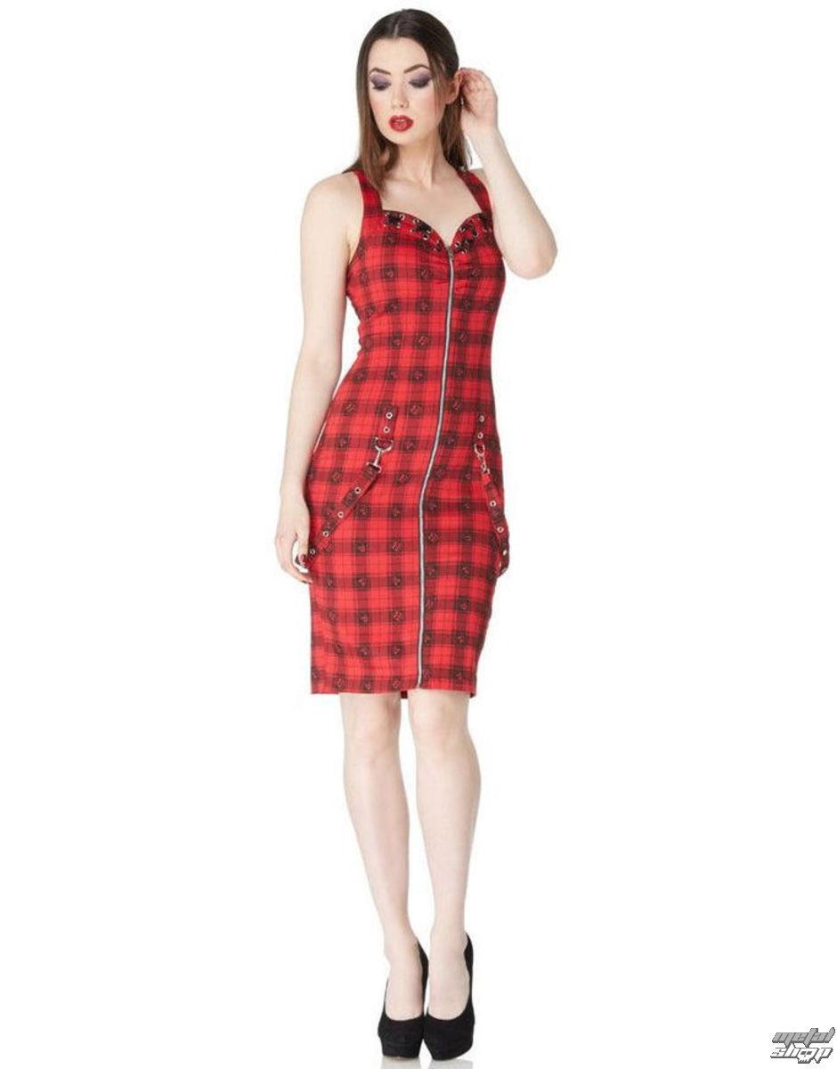 šaty dámske VOODOO VIXEN - Blk/Red Plaid Skulls - DRA8117
