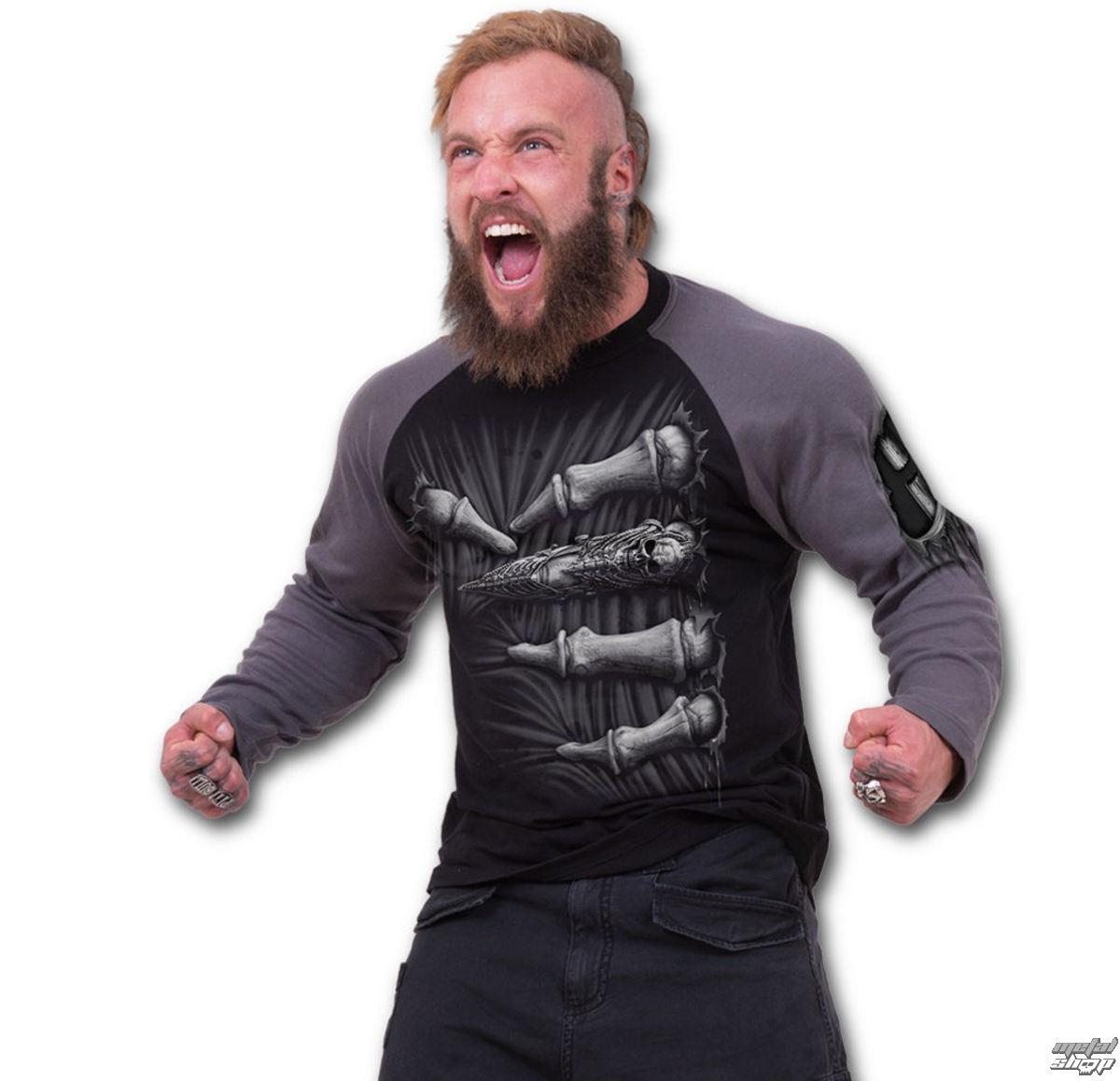 tričko pánske s dlhým rukávom SPIRAL - Death Grip - Black - T107M314
