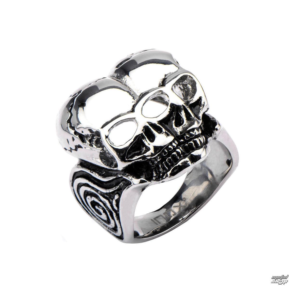 prsteň INOX - BLK CONJOIND TWN SKUL - FR367