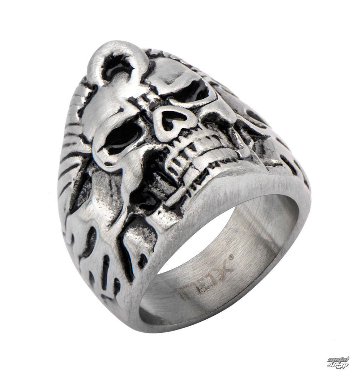 prsteň INOX - BLK FLAME SKULL - FR369