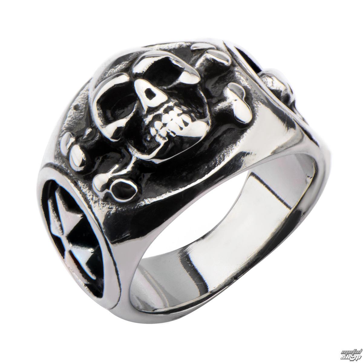 prsteň INOX - SKULL BACK CROSS BONE - FR1192