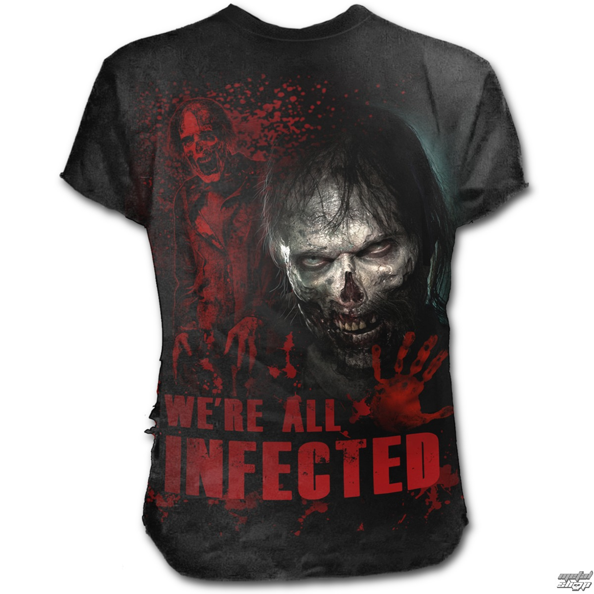 tričko pánske SPIRAL - ZOMBIE - ALL INFECTED - Walking Dead Ripped - Black - G004M125