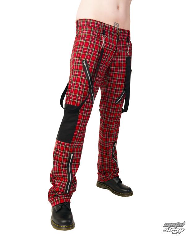 nohavice Black Pistol - Punk Pants Tartan Red-Green - B-1-01-060-04