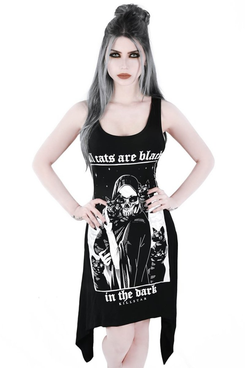šaty dámske (tunika) KILLSTAR - Black Cats - KSRA000991