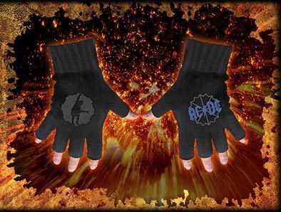 rukavice bezprstové AC/DC - Logo & Angus Cog Motif - RAZAMATAZ