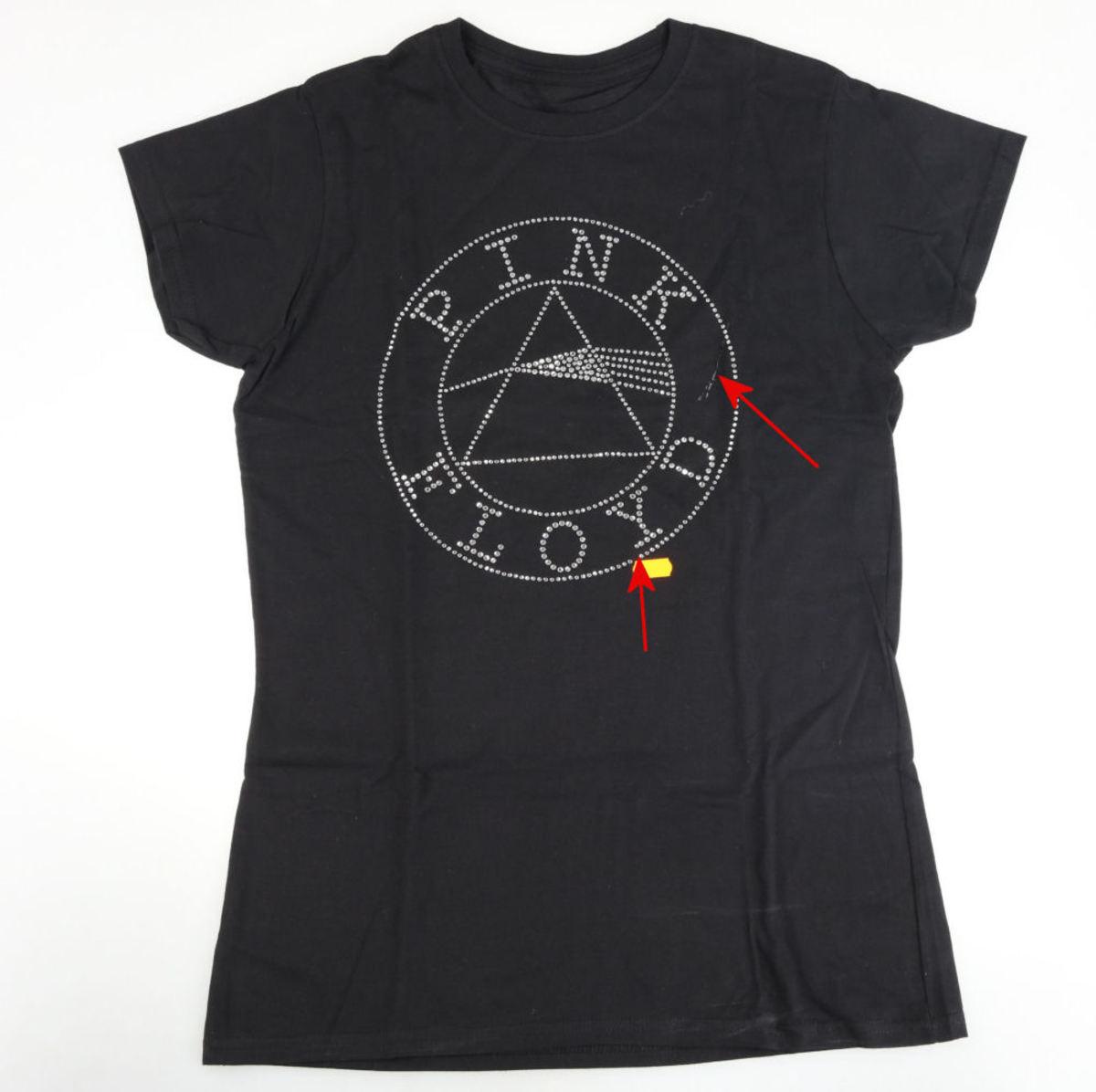 tričko dámske Pink Floyd - Circle Logo Diamante - Blk - ROCK OFF - POŠKODENÉ - MA183