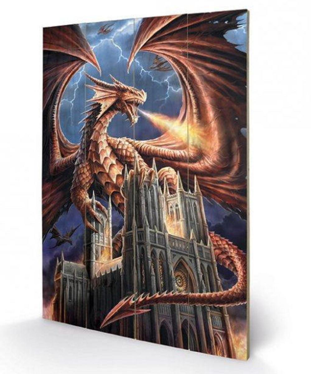 drevený obraz ANNE STOKES - (Dragon's Fury) - SW11244P