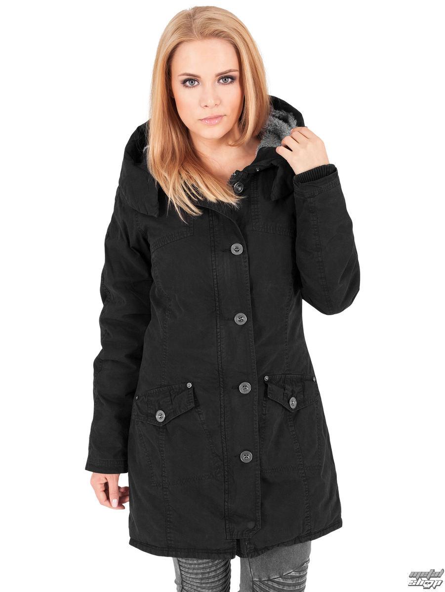 bunda dámska zimný URBAN CLASSICS - Garment washed Long Parka - TB1088-black