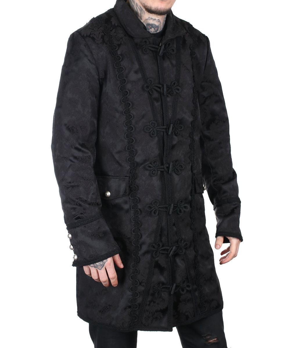 kabát pánsky Aderlass - Classic Coat Brocade Black - A-7-03-040-00