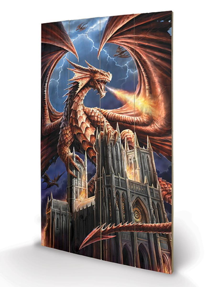drevený obraz ANNE STOKES - (Dragon's Fury) - LW11244P