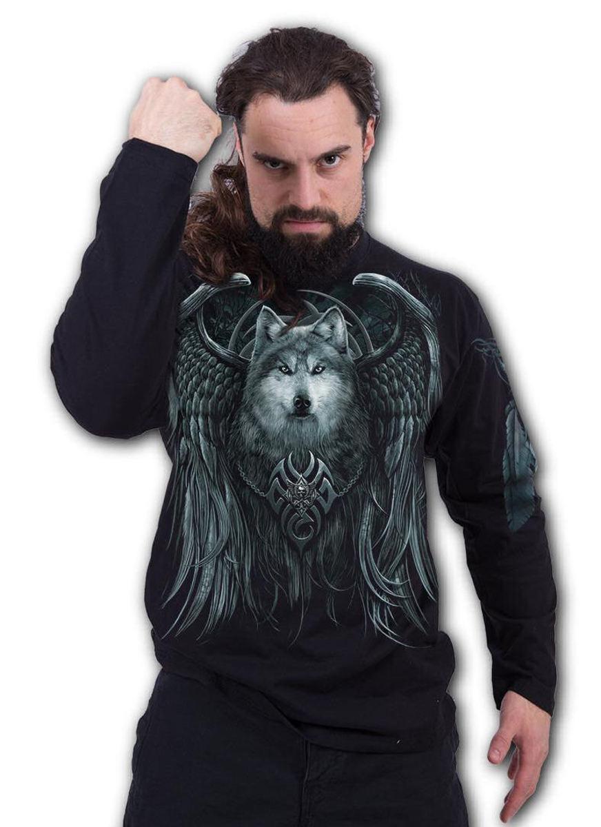 tričko pánske s dlhým rukávom SPIRAL - WOLF SPIRIT - T167M301