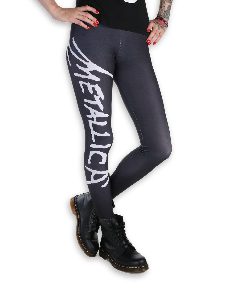 nohavice dámske (legíny) - Metallica - Logo - Black/White - MET1001