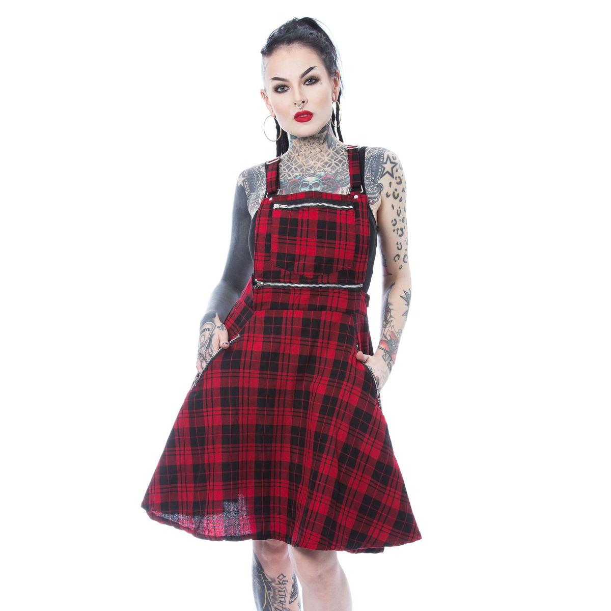 šaty dámske Heartless - MAUDE PINAFORE - RED CHECK - POI898