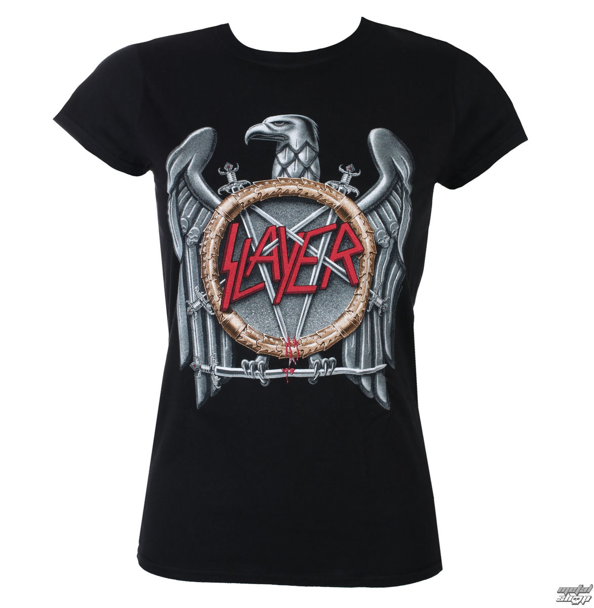 tričko dámske Slayer - Silver Eagle - Black - ROCK OFF - SLAYTEE02LB
