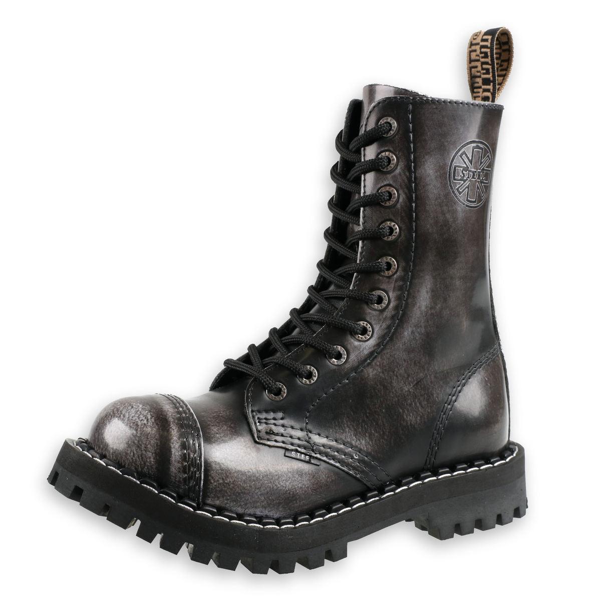 topánky STEEL - 10 dierkové šedé (105/106 White)