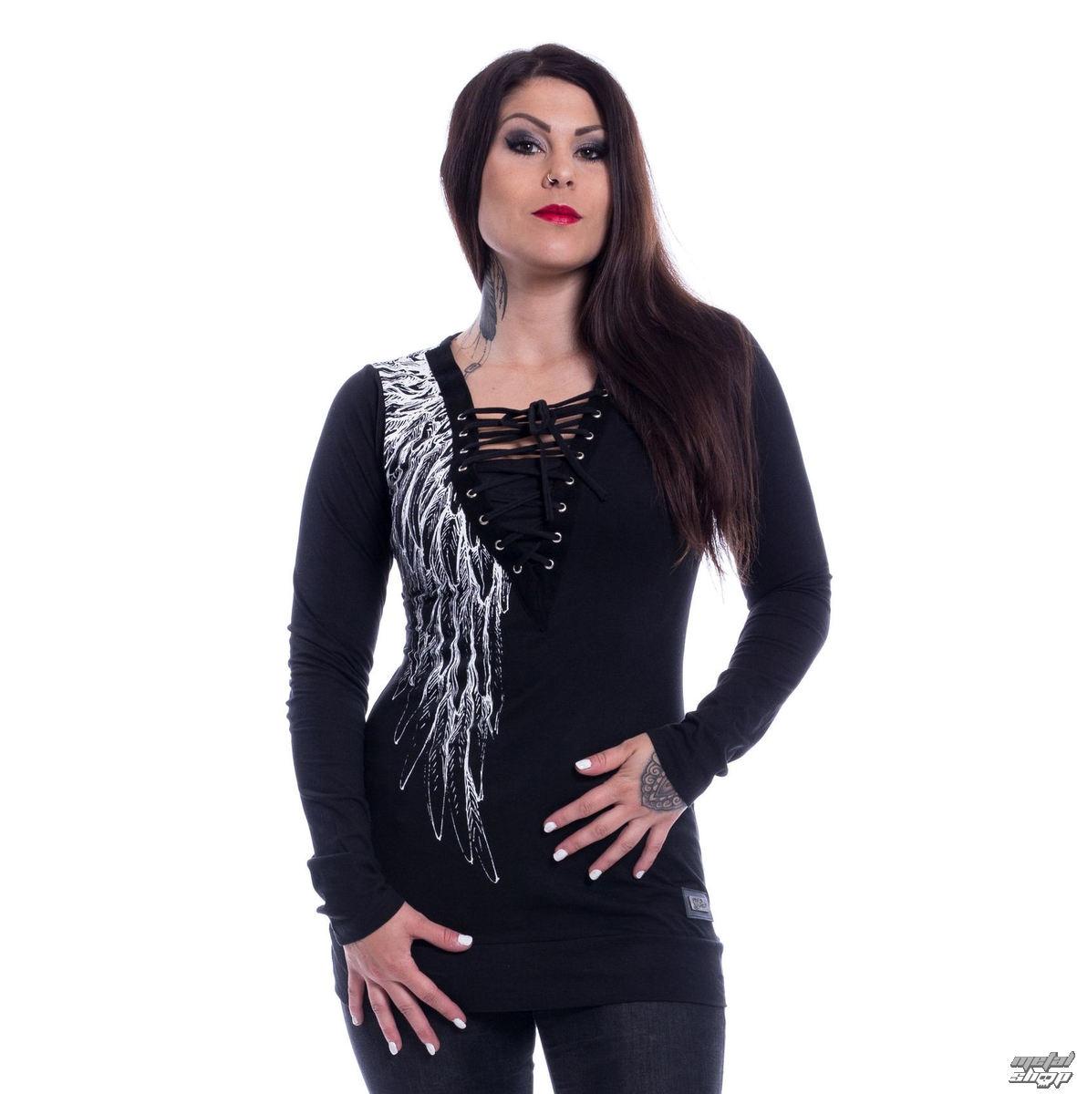tričko dámske s dlhým rukávom VIXXSIN - SHADOW ANGEL - BLACK - POI501